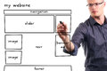 Man drawing website wireframe Royalty Free Stock Photo