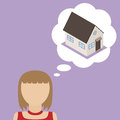 Man dream about house vector illustration woman concept of desire to obtain it s own home Stock Images
