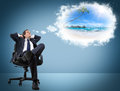 Man dreams holidays Royalty Free Stock Photo