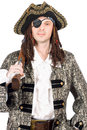 Man dressed as pirate. Isolated Royalty Free Stock Photos