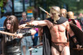 Man Dressed As Spartan Warrior Walks In Dragon Con Parade Royalty Free Stock Photo