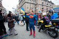 Man dressed in a superman costume meets anti government demonstration during the pro european protest kyiv ukraine on december Stock Image