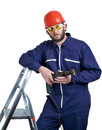 Man with drill standing on ladder Royalty Free Stock Image