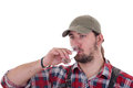 Man drinking brandy and enjoys Royalty Free Stock Photo