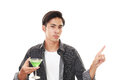 Man drinking cocktail isolated on white background Stock Image