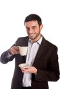 Man drinking coffee in a suit vertical portrait of happy business wearing looking at the camera with copyspace Stock Images