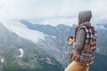 Man drinking hot coffee in mountains Royalty Free Stock Photo