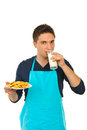Man drinking milk Royalty Free Stock Photo