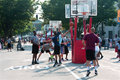 Man drives and shoots layup in street basketball tournament athens ga usa august a a a on held on the streets of downtown athens Royalty Free Stock Images