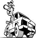 Man Driving Car Cartoon Vector...