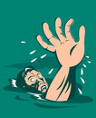 Man drowning reaching for help Royalty Free Stock Image