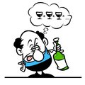 Man drunkard cartoon illustration character minimalism Royalty Free Stock Images