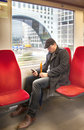 Man in dutch train by metro Royalty Free Stock Image
