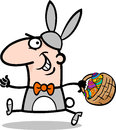 Man in easter bunny costume cartoon Stock Photo