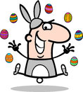 Man in easter bunny costume cartoon Stock Photography