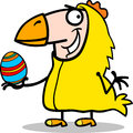 Man in easter chicken costume cartoon Stock Photos