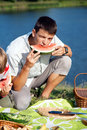 Man eating watermelon Royalty Free Stock Photography