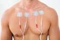 Man with electrodes on chest Royalty Free Stock Photo