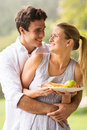 Man embracing girlfriend happy men his beautiful from behind Royalty Free Stock Photos