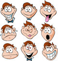 Man emotions illustration of man with many facial expressions isolated on white background Royalty Free Stock Images