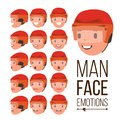 Man Emotions Vector. Handsome Face Man. Different Male Face Avatar Expressions Set. Cute, Joy, Laughter, Sorrow. Human