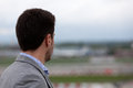 Man emptiness seen from the back looking at the blurry horizon in the nothing or Stock Photography