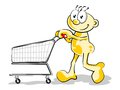 Man with empty cart conceptual illustration shopping online or shopping in the supermarket Stock Images