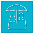 Man end woman under umbrella. Icon Royalty Free Stock Photo