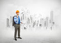 Man engineer image of in helmet with drafts construction concept Royalty Free Stock Photo