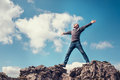 Man enjoy with freedom feel on the top of mountain Royalty Free Stock Photo