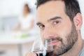 Man enjoying glass red wine Royalty Free Stock Photo