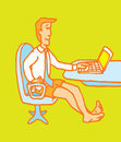 Man enjoying home office cartoon illustration of a businessman working in front of the computer in his underwear Stock Photos