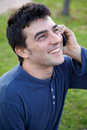 Man enjoying phone call smiling happy succes Royalty Free Stock Photography