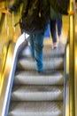 Man in escalators Royalty Free Stock Photo