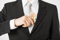 Man with euro cash money hand putting into suit pocket Royalty Free Stock Photos