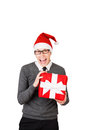Man excited happy smile hold gift box in hand. Royalty Free Stock Photo