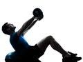 Man exercising bosu weight training workout Royalty Free Stock Photo
