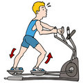 Man Exercising on Elliptical Machine Stock Images