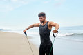 Man Exercising Outdoor, Doing Workout Exercise At Beach. Fitness Royalty Free Stock Photo