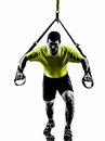 Man exercising suspension training trx silhouette one on white background Royalty Free Stock Images