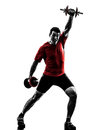 Man exercising weight training silhouette one caucasian on white background Royalty Free Stock Photo