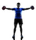 Man exercising weight training silhouette one on white background Royalty Free Stock Photos
