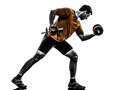 Man exercising weight training silhouette one on white background Stock Photo