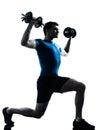 Man exercising weight training workout posture Royalty Free Stock Photo