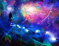 Man in the expanse of space considering Royalty Free Stock Image