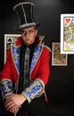 Man in expensive suit of illusionist-conjurer. Stock Images