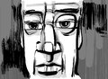 Man face artistic drawing illustration sketch of pensive Stock Photography