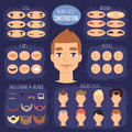 Man face emotions constructor parts eyes, nose, lips, beard, mustache avatar creator vector cartoon character creation