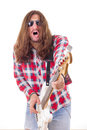 Man with face expression with sunglasses playing electric bass g Stock Image