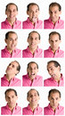Man face expressions composite isolated on white Royalty Free Stock Photo